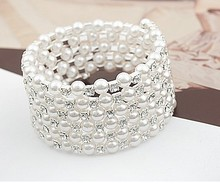 2016Luxurious Korean Temperament OL Silver Plated Full Rhinestone Simulated Pearl Bracelets Multilayer Winding Wide Bangles