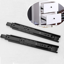 2PCS 16 Inch Drawer Guide Slide Rail 40mm 10 Inch Steel Ball Bearing Desk Guide Linea Furniture Hardware For Cabinets Wardrobe(China)