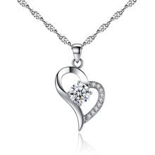 AAA 100% 925 Sterling Silver Pendant Necklace For Women CZ  Fine Jewelry 2 Colors FREE SHIPPING