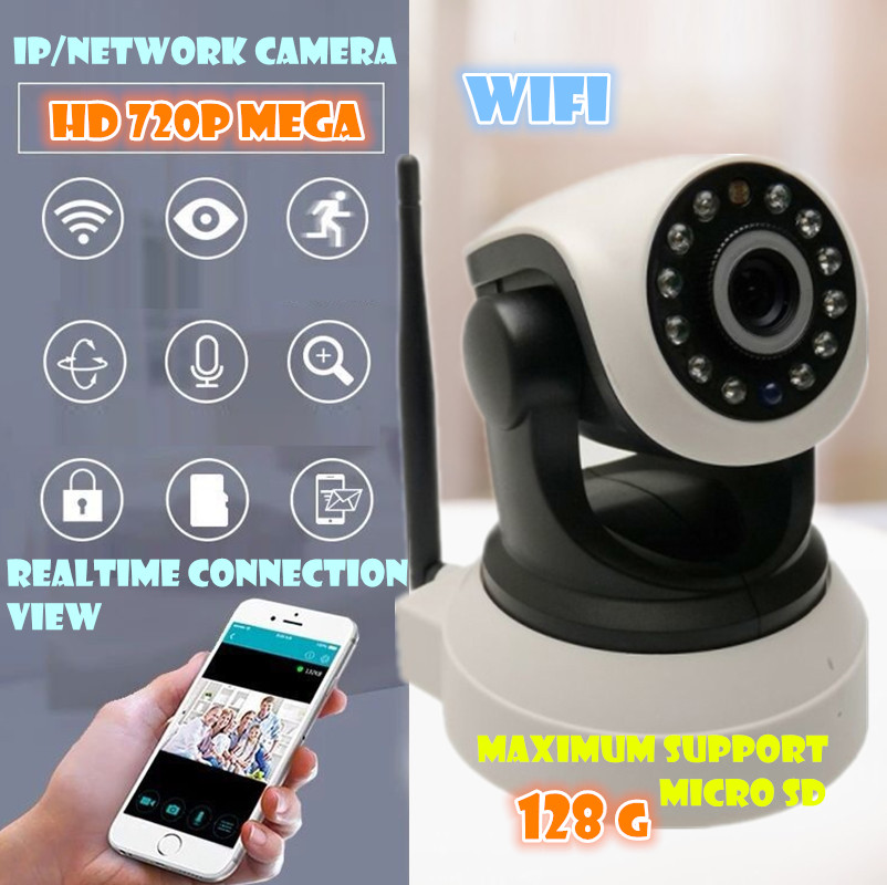 720P Security Network CCTV WIFI IP camera Megapixel HD Wireless Digital Security sd card IR Infrared Night Vision  system Alarm<br><br>Aliexpress