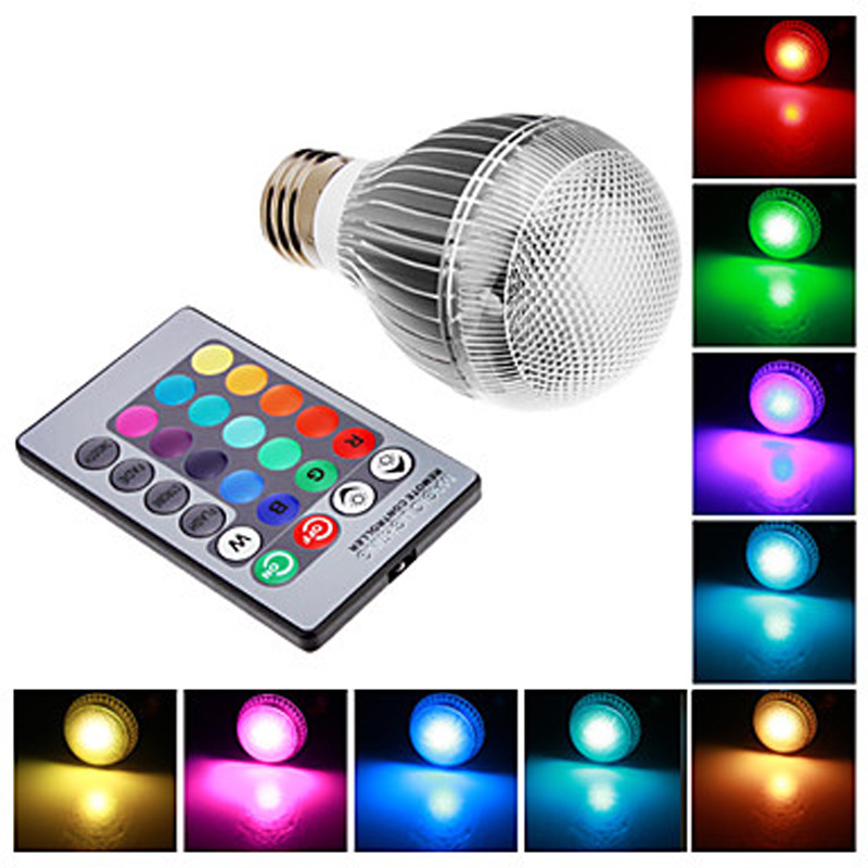 lamp e14 light bulb RGB 9W AC85-265v lampada bombillas ampoule led flashlight with remote Control multpie colour<br><br>Aliexpress