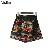 Vadim women sweet floral embroidery rivet skirt shorts bow tie elastic waist European style ladies fashion mini skirts BSQ586(China)