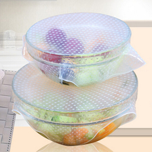 New 4pcs/set Food Fresh Keeping Saran Wrap Reusable Silicone Food Wraps Seal Vacuum Cover Lid Stretch Kitchen Tools