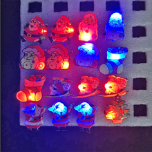2017 Real Led Wedding Dress 25pcs/lot Christmas Santa Claus Snowman Flashing Led Brooch Party Gift Decoration Broches Supplies(China)