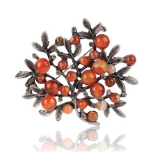 chenlege natural stone enamel bouquet plant leaf brooches vintage for women brooch wedding hijab scarf pins up fashion jewelry(China)
