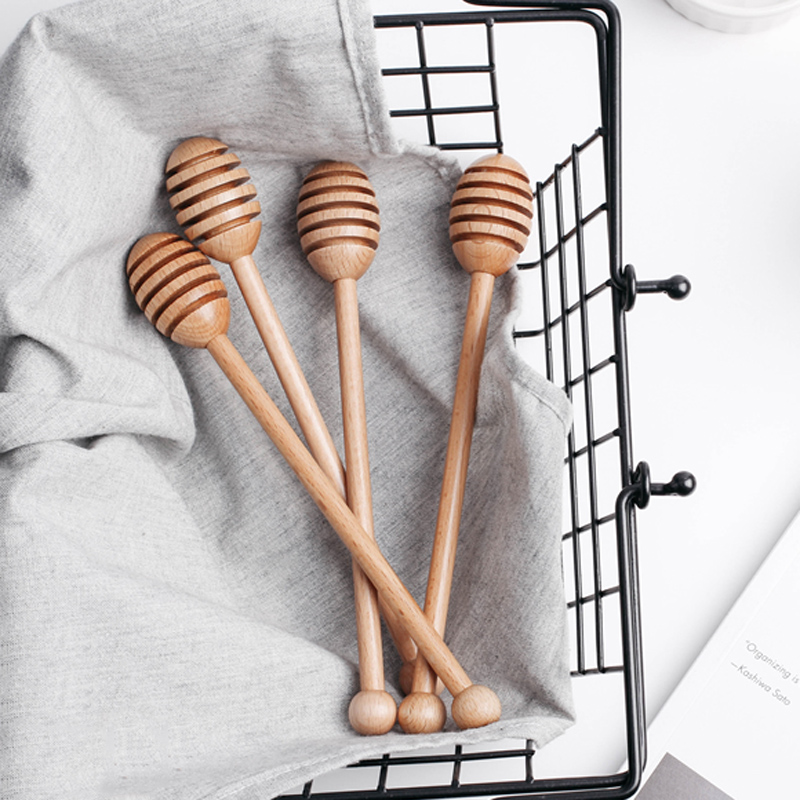 Wooden Honey Spoon Long Handle Beech Wood Honey Dipper Stick Wood Honey Coffee Bar Mixing Spoon Kitchen Utensils Tea Accessories (8)