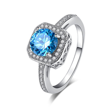 Trendy Women Wedding Jewelry Gift Latest CZ Cubic Zirconia Silver Color Sea Blue Rings For Women Jewelry Gift Size 7 8 Wholesale