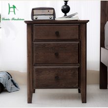 The building blocks of pure tribal bedside table simple modern American oak retro bedroom bedside locker(China)