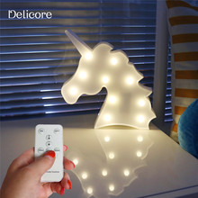DELICORE Lovely Marquee Animal Night Light With Remote Control For Baby Room Decorative, remote control without electronic S151(China)