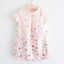 2017 New Style Summer Flower Dress Pink Cotton A-Line Short Sleeve Girls Dress Princess Costumes Girls Clothing  Floral Dresses