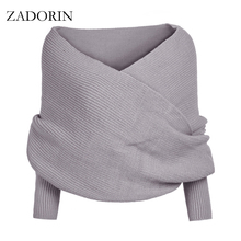 Fashion Designer 4 Colors Knitted Poncho Long Sleeve Open Stitch Short Sweater Women Sweaters And Pullovers cardigan feminino