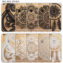 For iPhone 6 6S 5 5S SE 5C 6Plus 6sPlus Soft Silicon Clear Hollow White Black Paisley Dream Catcher Flower Phone Case Cover