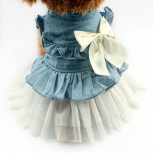 Armi store Ribbon Butterfly Decoration Dog Dresses Blue Princess Dress For Dogs Skirt 6071048 Puppy Clothes Supplies
