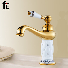 fiE Bathroom Basin Gold Faucet Brass With Diamond Body Tap New Luxury Single Handle Hot And Cold Tap(China)