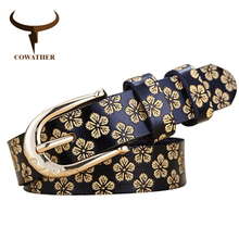 COWATHER 2017 belts for women cow genuine leather pin buckle vintage floral pattern thin female belt top quality  original brand