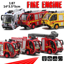 Sale 1:87 scale alloy pull back toys, Fire engines, ambulances model cars, children's gifts, special free shipping(China)