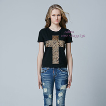 2016 Sale t shirt women tops Leopard Cross  Punk Rock Plus Size t-shirt women clothing tees 95% Cotton brand poleras