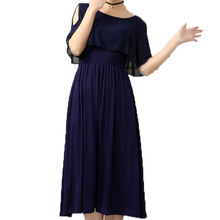 2017 Spring summer fashion Modal dress short sleeve Round neck dress large size chiffon Solid color long dress New product LU87