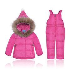 2017 Winter Children's clothing sets Baby girl's Ski suit sets Kids sport Jumpsuit warm coats fur Duck down Jackets+bib pants(China)