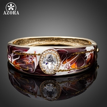 AZORA Oil Painting Pattern Gold Color Clear Cubic Zirconia Cuff Bangle Bracelet TB0060(China)