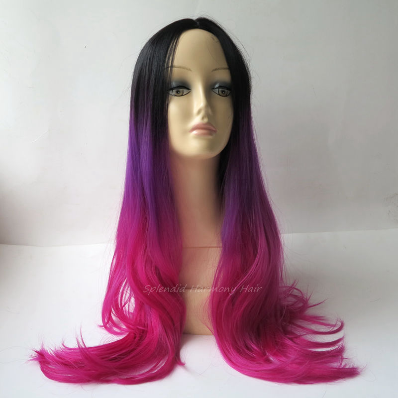 Full Head Black Purple Fuchsia Color Ombre Wig Woman Long Wavy Gradient 3 Colored Heat Resistant Synthetic Hair Cosplay Wig<br><br>Aliexpress