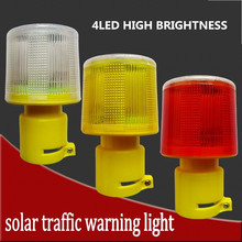 4LED Solar Powered Traffic Warning Light, white/yellow/red LED Solar Safety Signal Beacon Alarm Lamp
