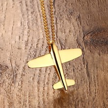 Fashion Mens Necklaces Pendants Stainless Steel Gold / Silver Tone Airplane Pendant Necklace for Men Boys Bike Choker Jewelry(China)