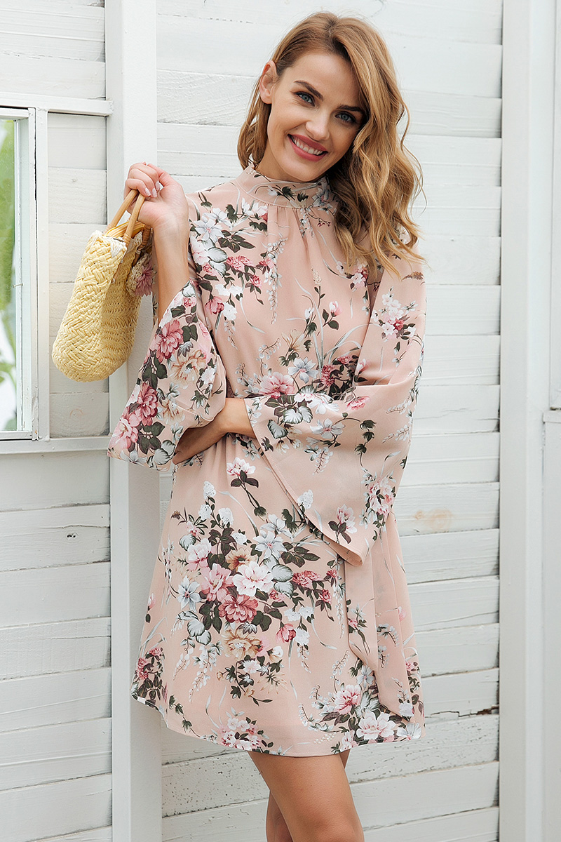 Flare Sleeve Floral Print Chiffon Dress (Us 6-14)