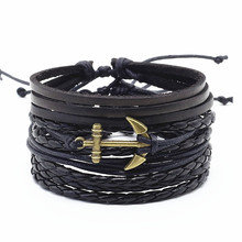 New Vintage Black Multilayer Wrap Bronze Silver Rudder Flower Anchor Charm Leather Men Bracelet Women Female 4 Pcs/set Jewelry(China)