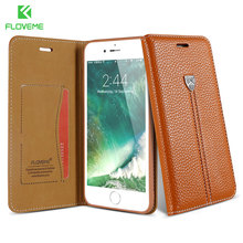 FLOVEME Phone Cases For iPhone 6 6s Case For iPhone 7 8 Plus X Case Luxury Leather Wallet Stand Card Holder Phone Cover Holster(China)