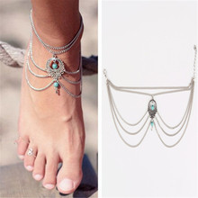 H:HYDE 1PC Silver Color Summer Ankle Bracelet Bohemian Foot Jewelry Natural Stone Anklets for Women