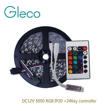 DC12V 5050 RGB LED Strip Set 60LED/m 5M LED Strip RGB 5050 LED Tape + Mini 24key RGB Controller