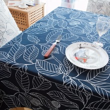 1 Piece European All Cotton Leaves Printed Table Cloth/ White Decorated Tea Table Cloth/ Modern High Quality Table Cloth