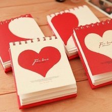 South Korea stationery lovely creative love coil notebook/journal driay/ memo pads school supllies(China)