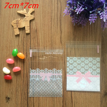 2 style 100pcs candy bag biscuit cookies bags Mini flower lace bow gift packaging opp bag self-adhesive bags 7cm*7cm