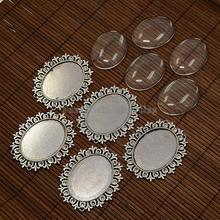 Alloy Cabochon & Rhinestone Settings and 40x30mm Oval Clear Glass Covers Sets, Lead Free & Nickel Free, Antique Silver,