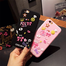 3D Cartoon Cell Phone Case For Apple iPhone 6 6s 7 Plus Black Pink Silicone Cover Star Lip Heart Bow Crown Diamond Fundas Coque