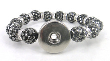 MOODPC New arrival hematite(shiny grey) pave ball crystal ball metal Button Disco Ball Bracelet