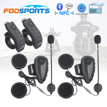 2 pcs V8 Motorcycle Helmet Bluetooth Intercom Helmet Headset Headphone 5 Riders BT Interphones FM Radio NFC Remote Control