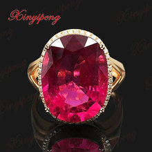 18 k rose gold with natural tourmaline ring female 9.5 carat fine jewelry contracted fashion With diamond