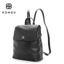 HONGU Fashion Women Backpacks 100% Genuine Cow Leather Bag Ladies Tote Red School Bag Teenagers Girls Big Capacity Versatile Bag(China)