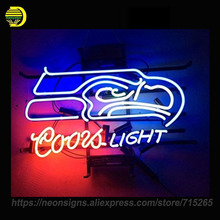 Neon Signs For CoorsLight Seahawks Neon Bulbs Handmade Decorate Room Night Light BEER Pub Display Neon Window Lights Iconic Sign(China)