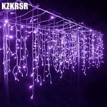 KZKRSR Connectable 3.5M x 0.3M 0.5M 0.6M Led Curtain Icicle String Lights Led Fairy Christmas Lamps Icicle Lights Xmas Wedding(China)