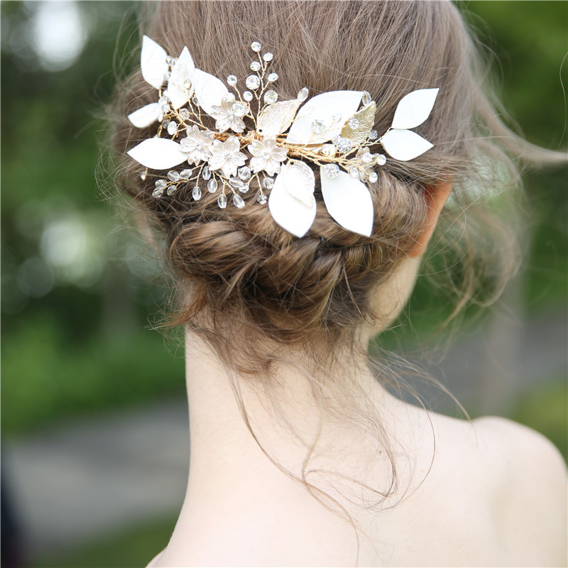 Gold Leaves Wedding Hair Accessories Hair Ornaments Crystal hair Combs Rhinestone Pearls Headpiece Bride Headdress For women