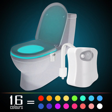 New 16 Colours Changing Body Motion Sensor Toilet Light Sensor Toilet Seat LED Lamp Motion Activated Toilet Bowl Night Lights(China)