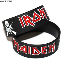 OMORFOUS Iron Maiden Wristbands Heavy Metal Rock Style Band Silicone Rubber Bracelets&Bangles for Music Fans Gift Dropshipping