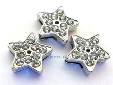 wholesale price 50pcs full rhinestone 8mm Star Slide Charms Fit Pet Dog Cat Tag Collar Wristband/bracelet