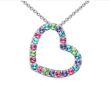 Wholesale Austrian Crystal Heart Necklaces & Pendants Fashion Luxury Wedding Jewelry for Women Love Gifts