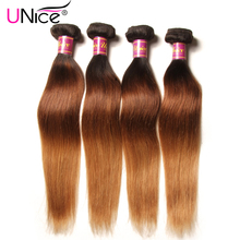 UNice Hair Company Ombre Brazilian Hair Straight Weave T1B/4/27 Non Remy Hair Bundles 100% Human Hair 1 Piece Can Mix Any Length(China)
