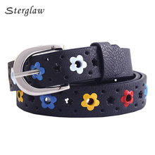 designer kids PU leather belts women 2018 hot fashion flower buckle belt Kids/Children Waist Belt For Boys/Girls sterglaw Y213(China)